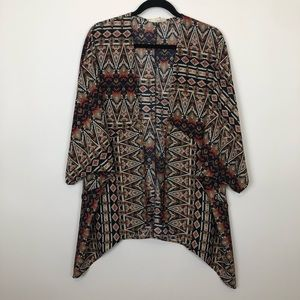 Painted threads bohemian Aztec kimono jacket m/l